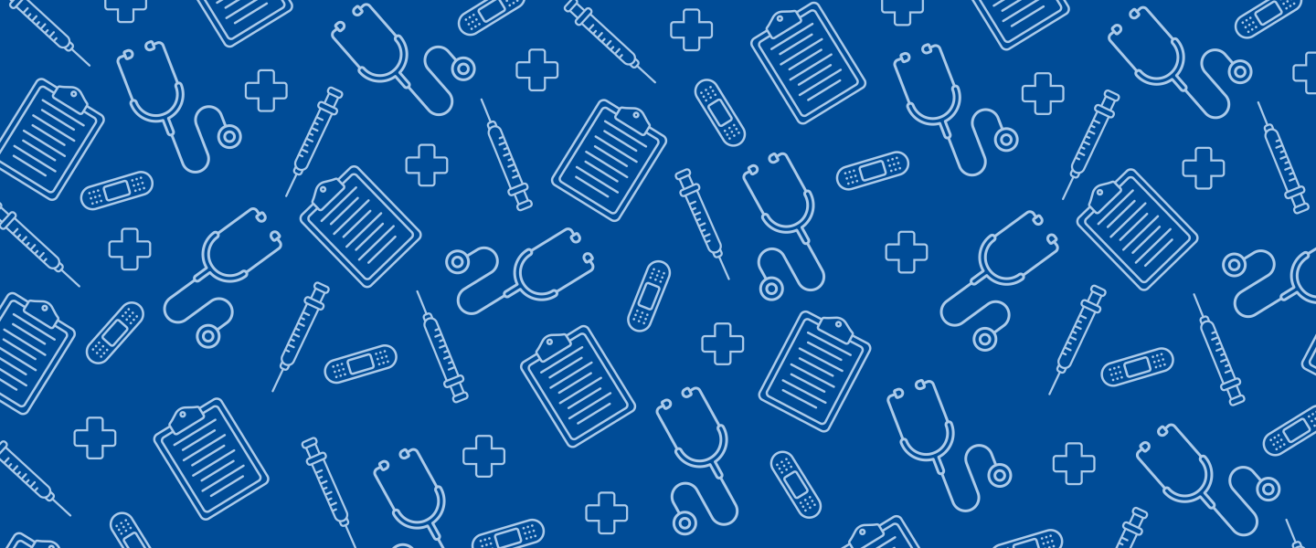 white icons from the world of medicine make a pattern on a blue background